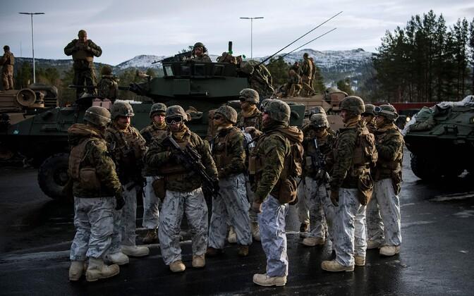 Американские морские пехотинцы на учениях в Норвегии в 2018 году.