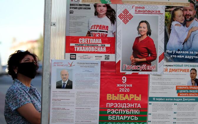 Valimisplakatid Valgevene presidendivalimistel.