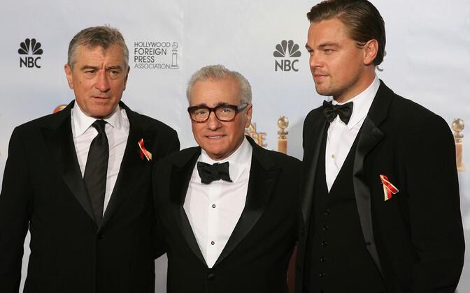 Filmilavastaja Martin Scorsese koos näitlejate Leondardo DiCaprio ja Robert De Niroga.