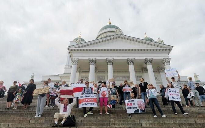 Акция солидарности с протестами в Беларуси прошла в Хельсинки.