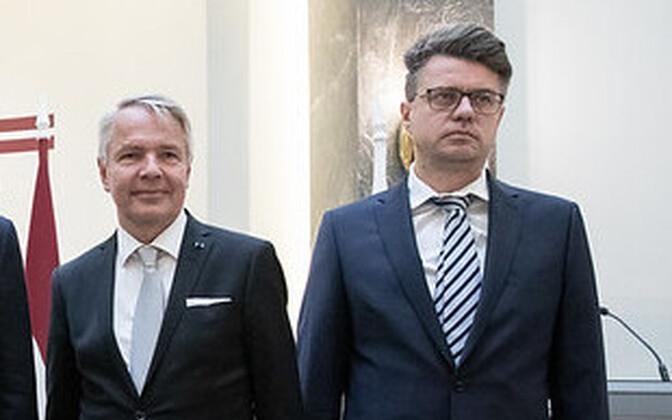 Finnish Foreign Minister Pekka Haavisto and Estonian Minister of Foreign Affairs Urmas Reinsalu.