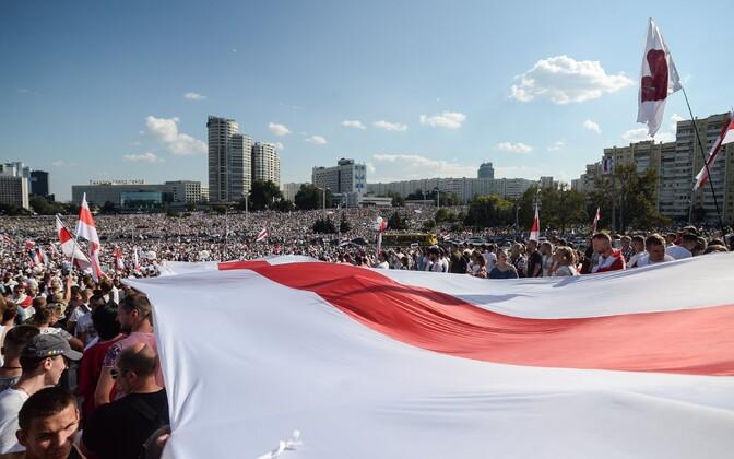 Pühapäevane meeleavaldus Minskis.