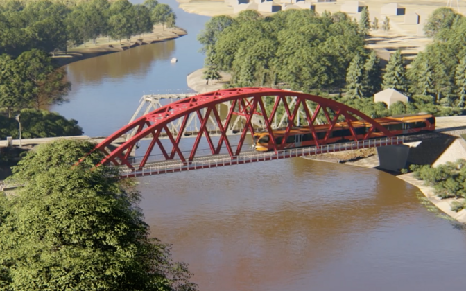 Artist's rendering of the planned rail bridge over the Emajõgi River near Tartu, with the existing bridge behind.