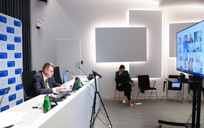 Välisminister Urmas Reinsalu videosilla vahendusel ÜRO Julgeolekunõukogu istungil.