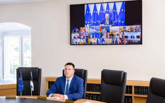 Prime Minister Jüri Ratas during an EU video meeting.