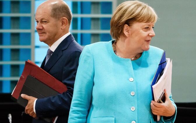 Saksamaa rahandusminister Olaf Scholz ja kantsler Angela Merkel.