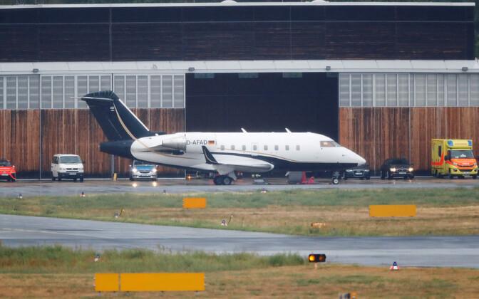 Aleksei Navalnõi Berliini toonud lennuk Schönefeldi lennuväljal.