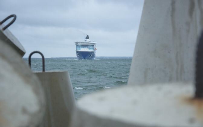 Ship arriving in Tallinn Bay.