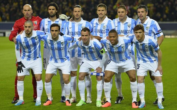 Malaga mängijad enne 2013. aasta Meistrite liiga veerandfinaali Dortmundi Borussia vastu