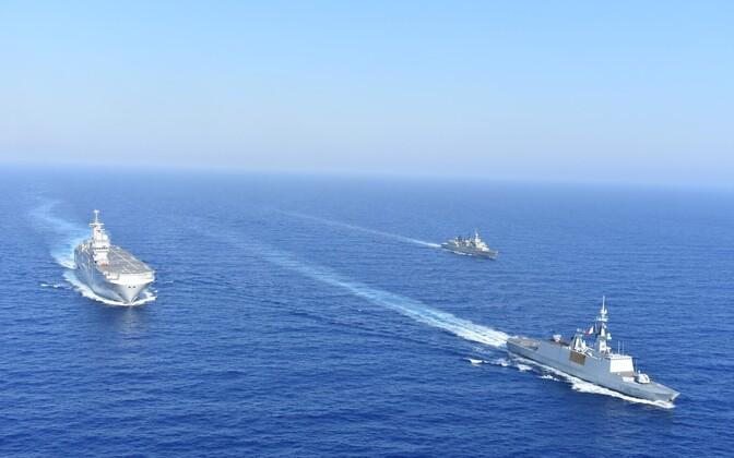 Kreeka ja Prantsusmaa sõjalaevad ühisel õppusel Vahemeres.