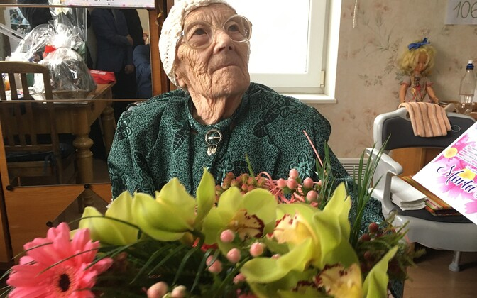 Ms Marta Kivi, celebrating her 107th birthday in 2019.