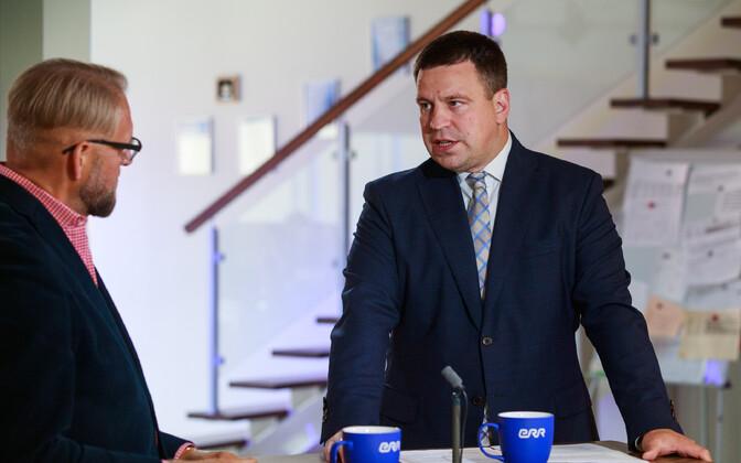 Prime Minister Jüri Ratas (Center) speaking on