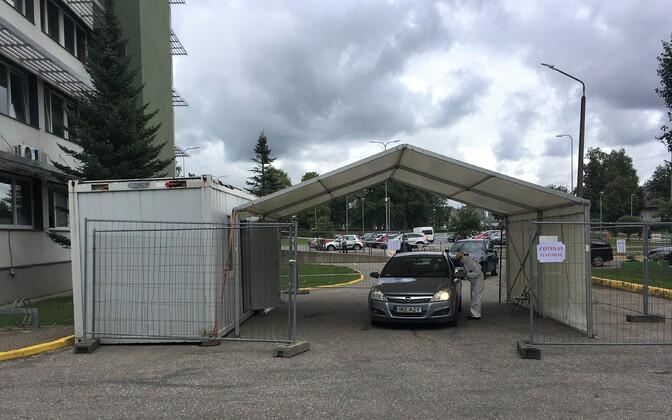 Coronavirus testing site in Kohtla-Järve.