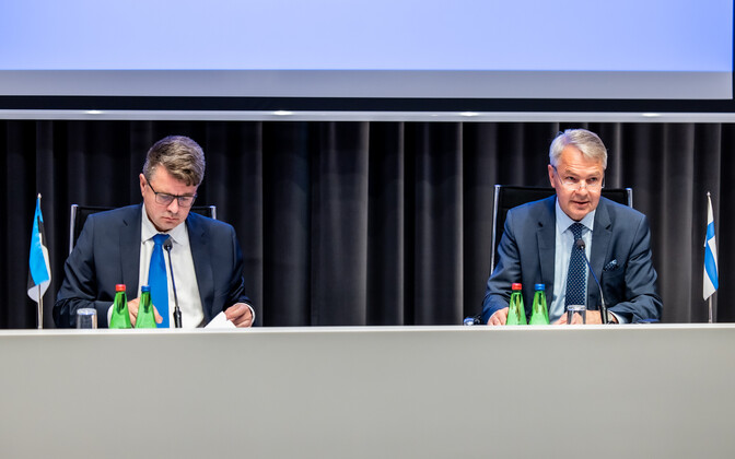 Minister of Foreign Affairs Urmas Reinsalu and Finnish foreign minister Pekka Haavisto in Tallinn.