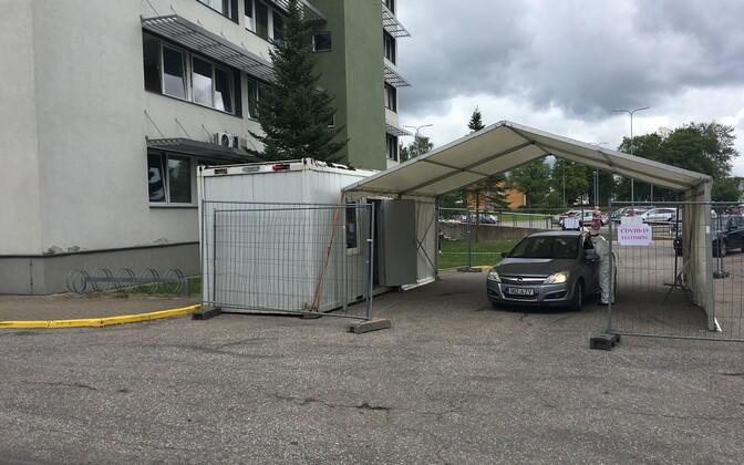 Палатка для сдачи тестов на коронавирус в Кохтла-Ярве.