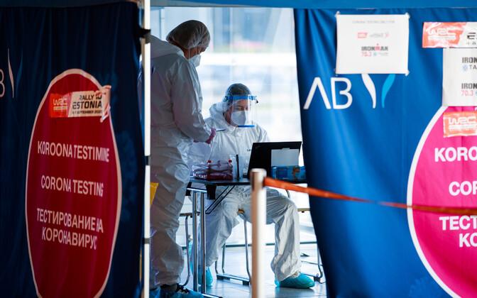 Coronavirus testing at Tallinn Airport.
