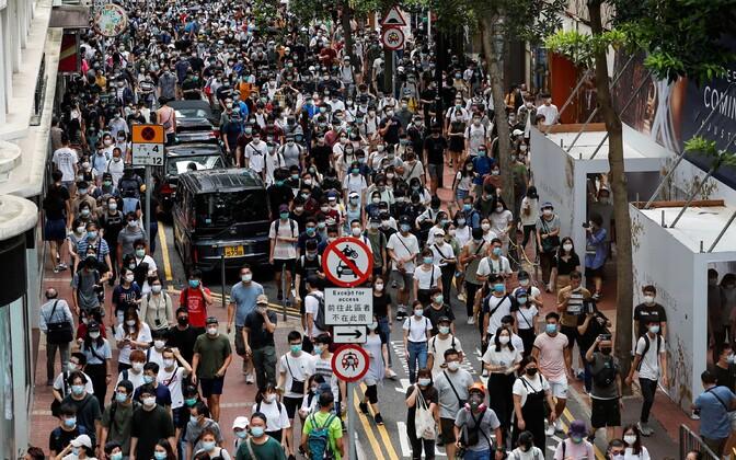 Julgeolekuseaduse vastane meeleavaldus Hongkongis juulis.