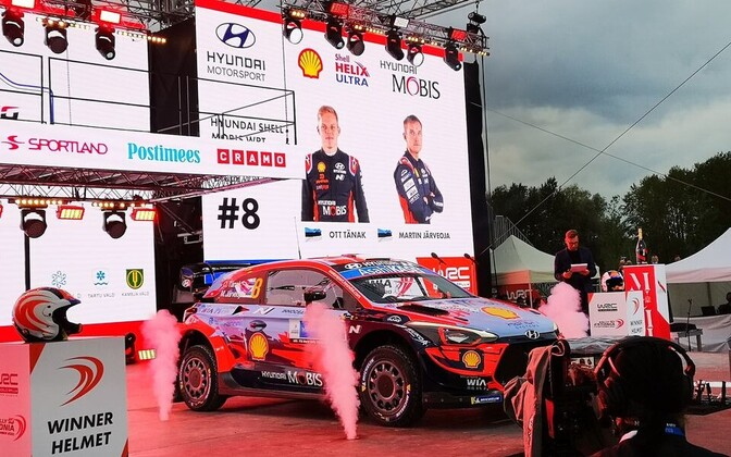 The winners' podium in Tartu ahead of stage one of WRC Rally Estonia Friday.
