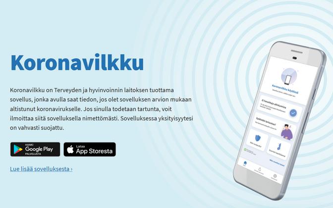 Soome koroonaäpi veebileht.