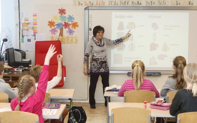 Primary school classroom in Estonia.