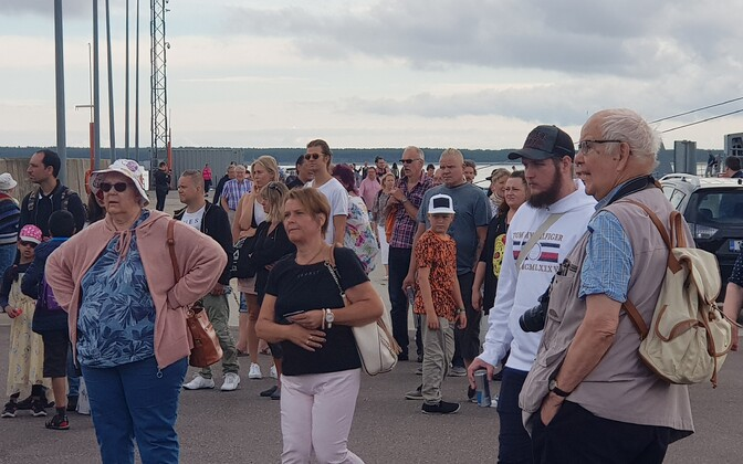 Finnish tourists disembarking from a special cruise vessel which visited Saaremaa in summer.