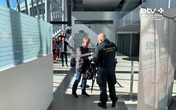 Border checks in Helsinki's western ferry terminal earlier this year.