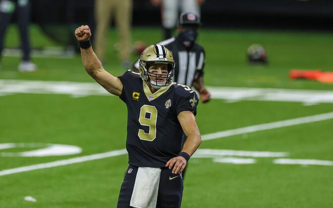 New Orleans Saintsi mängujuht Drew Brees tähistamas