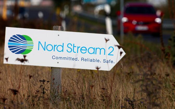 Nord Stream 2 rajamise ehitusplatsile juhatav suunaviit Saksamaal Lubmini asula lähistel.