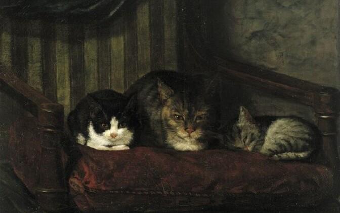 Adolf von Becker (1831–1909) Kass poegadega. 1863 Õli Soome Rahvusgalerii – Ateneum