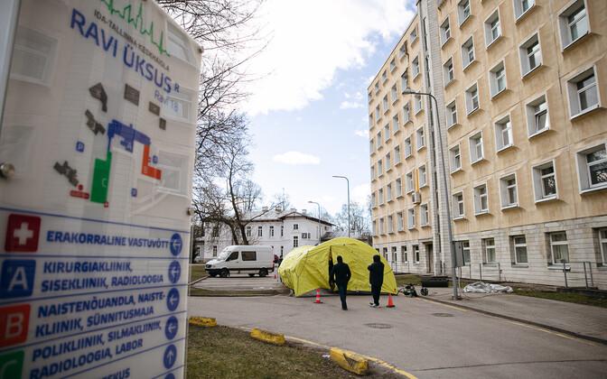 The triage tent outside East-Tallinn Central Hospital.