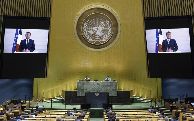 Выступление Эммануэля Макрона по видеосвязи на сессии Генассамблеи ООН.