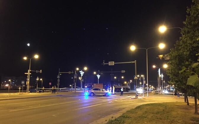 Место стрельбы на мосту Мустакиви после инцидента.