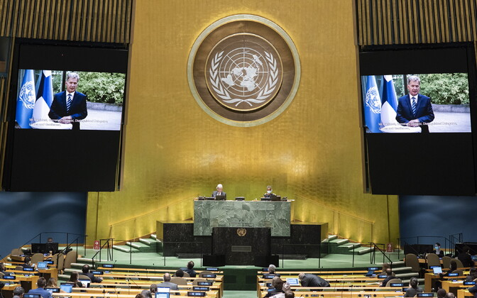 Выступление президента Финляндии Саули Ниинистё по видеосвязи на Генеральной ассамблее ООН.