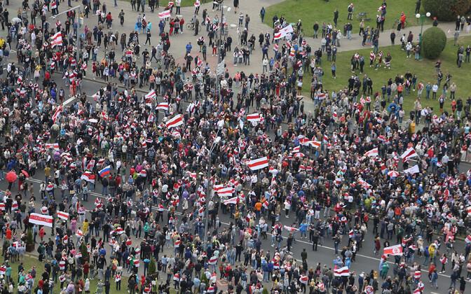 Акция протеста в Минске 27 сентября.