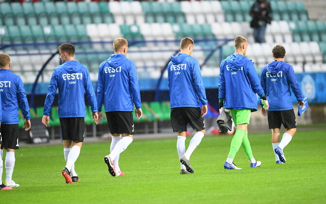Estonian men's national football team walking out for a match against Georgia in September.