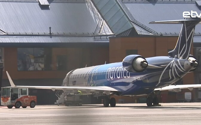 A Nordica Bombardier CRJ900 on the apron at Tallinn Airport.
