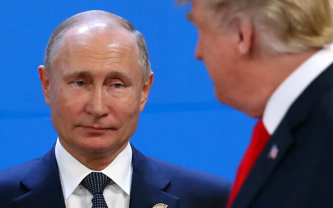 Vene president Vladimir Putin, esiplaanil USA liider Donald Trump