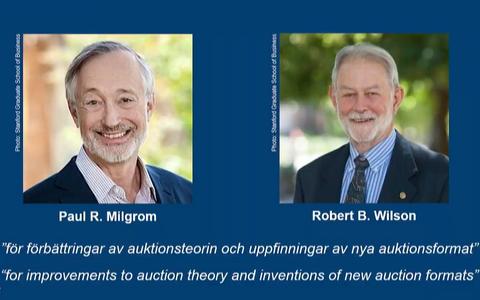 Selleaastase Nobeli majandusauhinna laureaadid Paul R. Milgrom ja Robert B. Wilson.