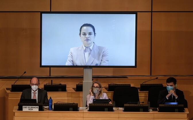 ÜRO Inimõiguste Nõukogu arutas septembris olukorda Valgevenes, sellel osales video vahendusel ka opositsiooniliider Svjatlana Tsihhanovskaja.