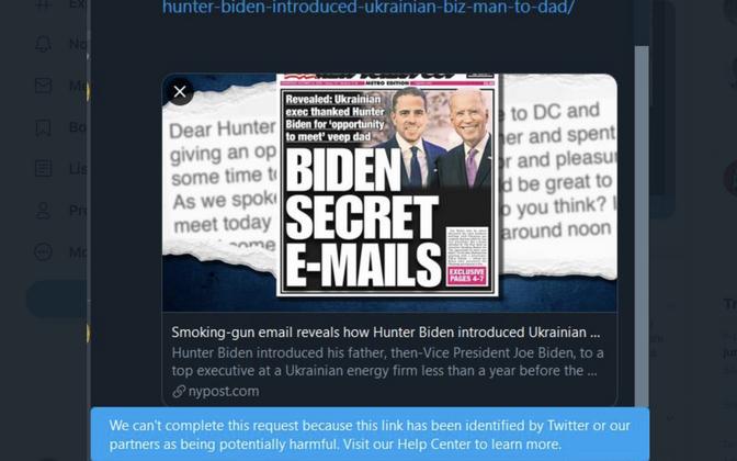 Ekraanipilt Hunter Bidenit puudutava New York Posti uudise ebaõnnestunud jagamisest.