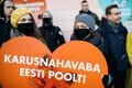Campaigners protesting against fur farming in Estonia outside the Riigikogu in Tallinn.