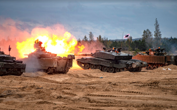 Tanks on firing exercise in Latvia.