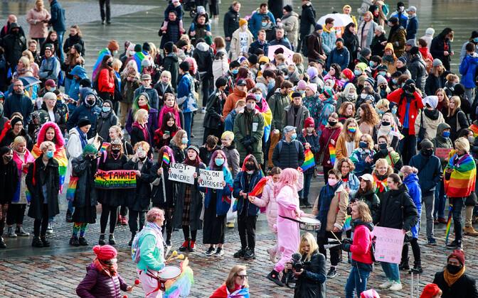 Акция в Таллинне за всеобщее право на брак.