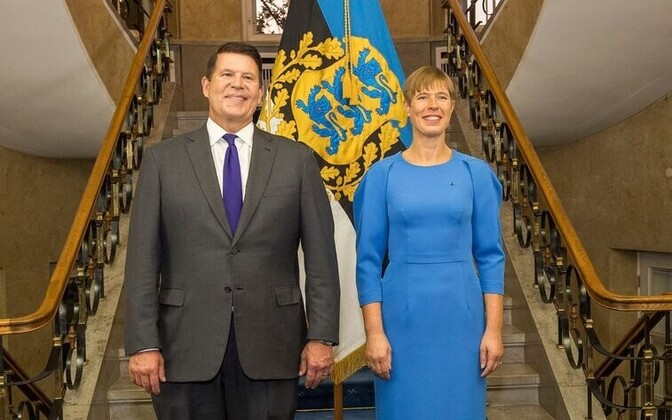 President Kersti Kaljulaid and US Under Secretay Keith Krach during the latter's previous visit to Estonia in September.