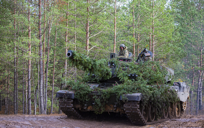 Nicely camouflaged Challenger 2 Main Battle Tank during Exercise Furious Axe in Latvia.
