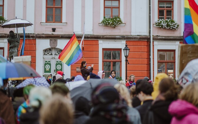 The LGBTQ support rally in Tartu on October 4.