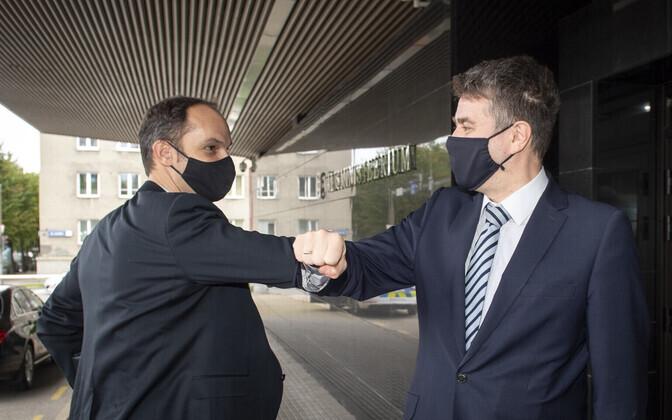 Eesti välisminister Urmas Reinsalu (paremal) ja Sloveenia välisminister Anže Logar.