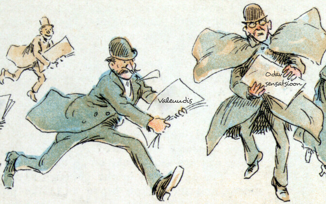 Reporterid erisuguste valeuudistega. Frederick Burr Opperi illustratsioon 1894. aastast.