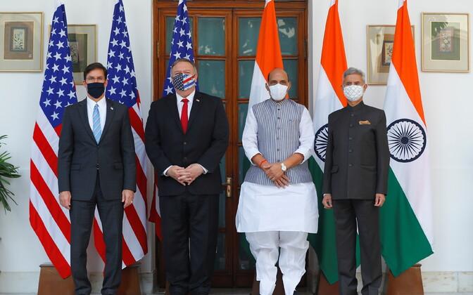 USA kaitseminister Mark Esper (vasakul), välisminister Mike Pompeo ninig India välisminister Subrahmanyam Jaishankar ja kaitseminister Rajnath Singh.