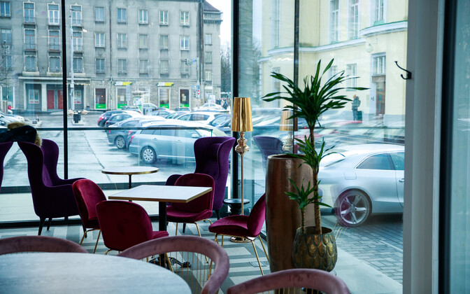 Empty cafe in Tallinn.